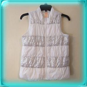 White stripe silver sequined puffer metallic vest
